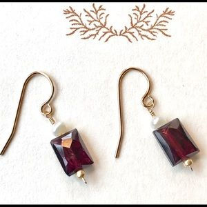 Garnet & Pearl Gold Dangle Earrings